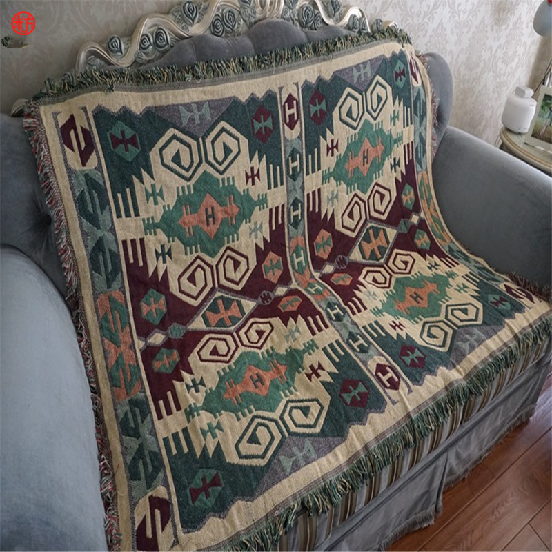 Home decor cotton geometric blanket tapestry 130*180cm soft carpet throw table sofa floor cover green bedspread multifunction