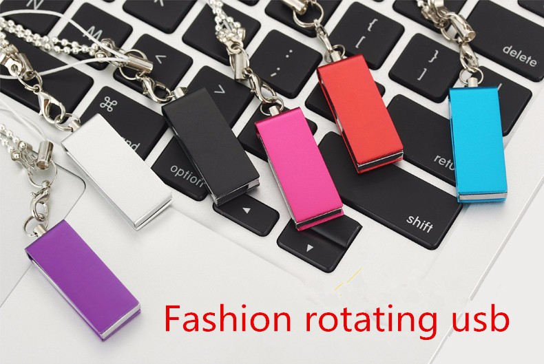 Fashion rotating usb memory stick 2.0 flash drive 64gb 32gb 16gb disk pen gadget free shipping