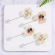 Rinhoo Trendy Popular Pearl Camellia Three-petal Triangle Needle Brooch Accessories Gift For Women Fashion Jewelry trendy rhinestoned faux pearl brooch for women