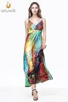 Atuwill XL 6XL Plus Size Sexy Women's Bohemian Printed Maxi Dress Summer Spring Casual Beach Dresses Women Long Dress New 2017