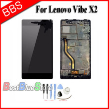 Replacement LCD Display Touch Digitizer Screen Assembly with frame For Lenovo Vibe X2 +Tools Free Shipping for alcatel one touch idol 2 mini 6016 ot6016 lcd display touch digitizer assembly frame white by free shipping