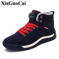 XiaGuoCai New Arrival Fleeces Cotton Shoes Men Fashion High Top Lace Up Casual Shoes Winter Outdoor