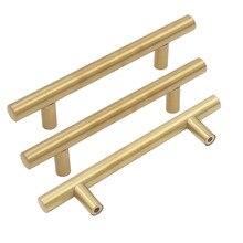 Матовая латунь золотые ручки шкафа goldenwarm Мебельная фурнитура t бар Кухня дверные ручки ящика ручки 2 «~ 5» отверстие центры