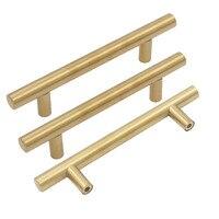 Brushed Brass Gold Cupboard Handles Goldenwarm T Bar Kitchen Door Pull Knobs Furniture Hardware Hole Space