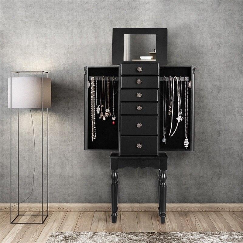 Boîte de rangement coffre debout armoire à bijoux MDF élégant 10 collier crochets 6 tiroirs doublure douce armoire de salon HW60447