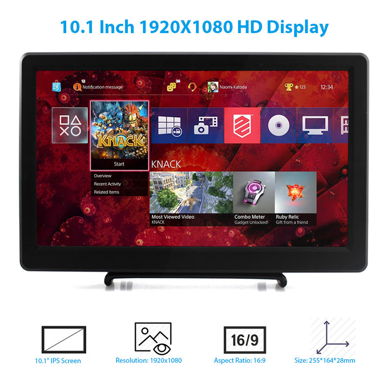 Elecrow 10.1 inch HD LED Display 1920X1080p IPS Raspberry Pi 3 Monitor HDMI FPV Video Speakers Screen for Xbox Windows System