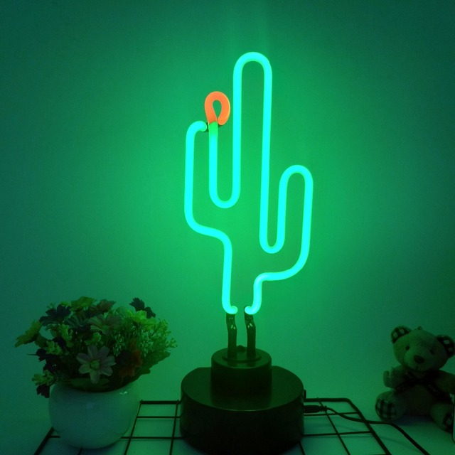 Tonger Cactus Neon Light Decor For Rooms Wall Lights Table Lamp Night Decoration Home Party