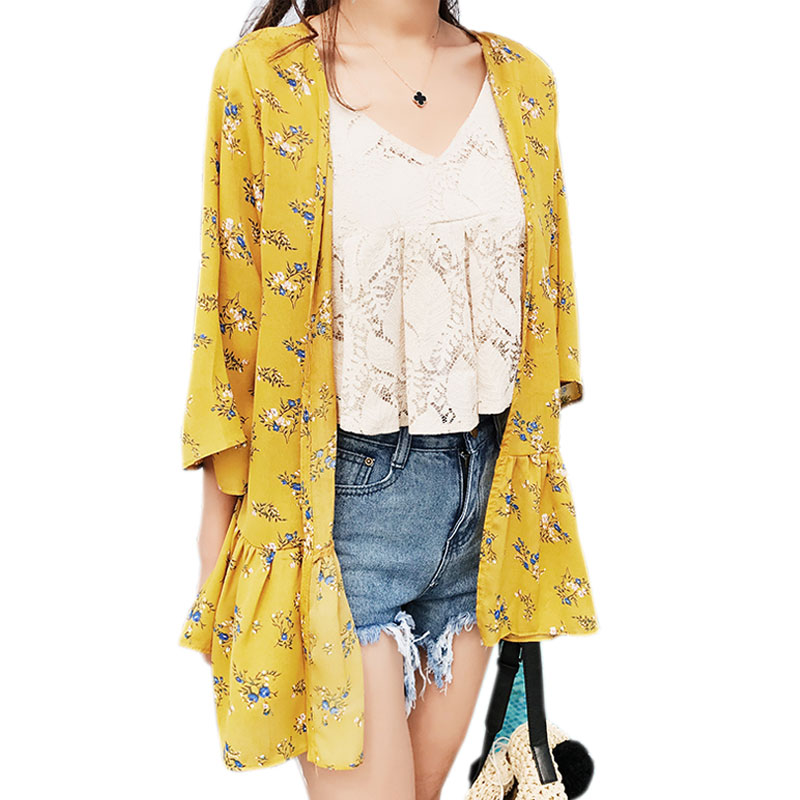 2017 White Yellow Summer Beach Wear Chiffon Sun Shirt ...