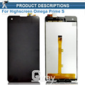 1 pcs Original Preto 4.7 polegada Para Highscreen Omega Prime S Display Lcd + Touch Screen Painel assembléia Digitador de Vidro