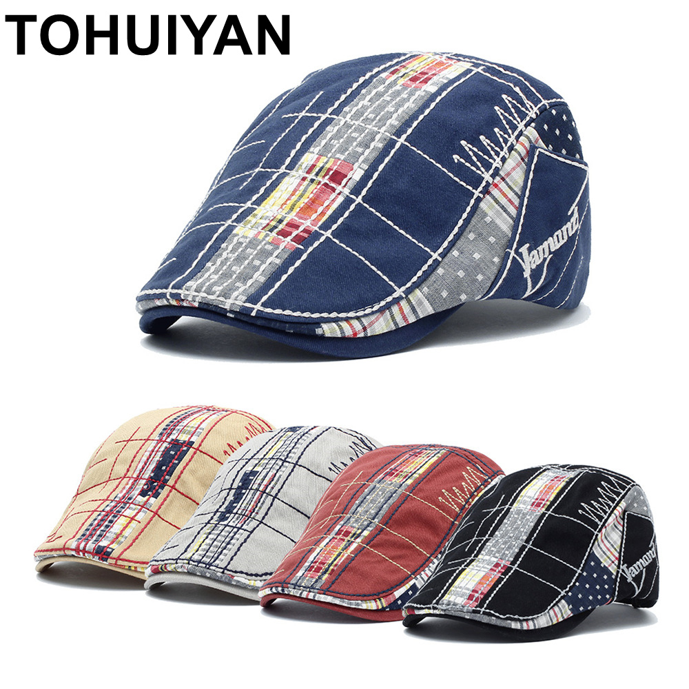 TOHUIYAN 2019 Vintage Cotton Beret Cap Mens Ivy Hat Duckbill Visor Cabbie Hats Summer Flat Caps Newsboy Caps Droping Shipping