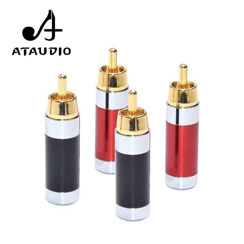 4 PCS ATAUDIO Hifi RCA Plug High Quality Gold-plated RCA Connector For Diy Audio Cable