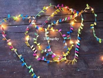 Folhas minúsculas guirlanda luz de fadas levou luzes de corda de Bateria de fio de cobre para floresta de Casamento Tabela Decoração de festa em casa de Natal 1