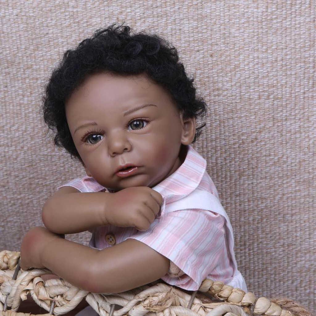 Lifelike soft silicone 20inch reborn african american baby doll newborn baby boy doll black skin