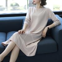 New arrival 2018 autumn women's long knit dress ladies sweater dress pullover long sweater
