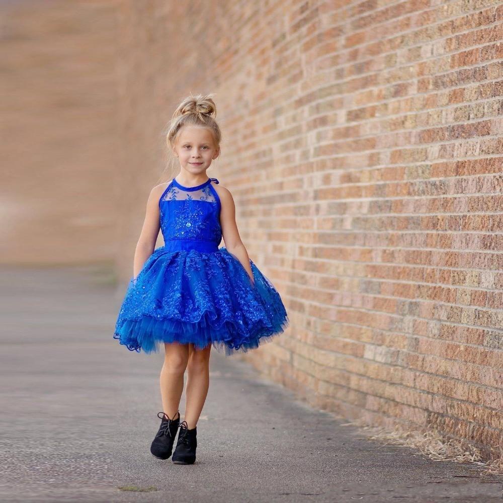 buy royal blue short flower girl dresses organza crystal sequins ball gowns. Black Bedroom Furniture Sets. Home Design Ideas