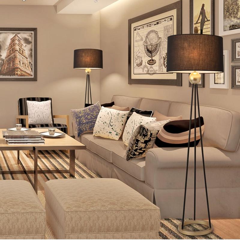 Post modern nordic Floor Lamp Black fabric shade floor light Metal structure minimalis light fixture bedroom saft chair beside