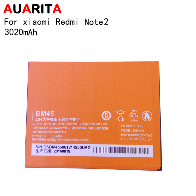 5pcs battery for redmi note 2 BM45 Phone Battery For Xiaomi RedMi Note 2 Bateria Hongmi Real 3020mAh Mobile Replacement Battery