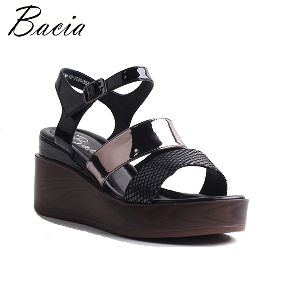 Bacia Women Genuine Leather Sandals Fashion Women High Heels Sandals  Summer Shoes 2018 New  Size 35-41   MWB001