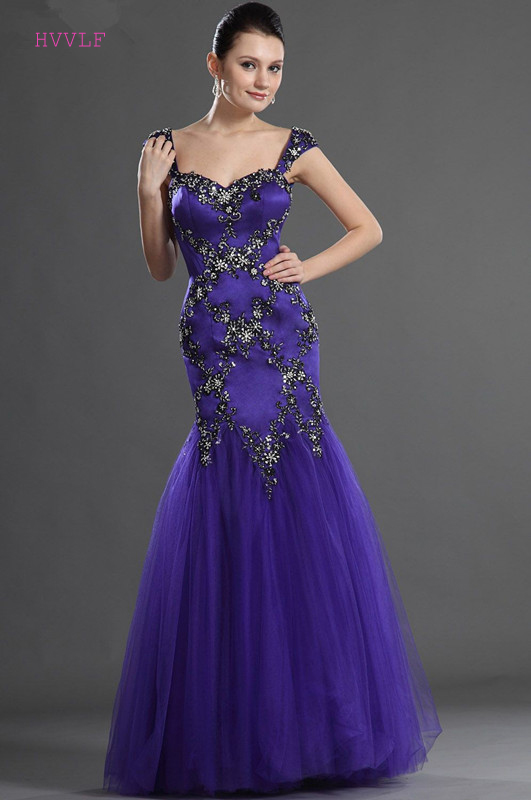 Plus Size   Evening     Dresses   2019 Mermaid Sweetheart Cap Sleeves Tulle Lace Beaded Long   Evening   Gown Prom   Dresses   Robe De Soiree