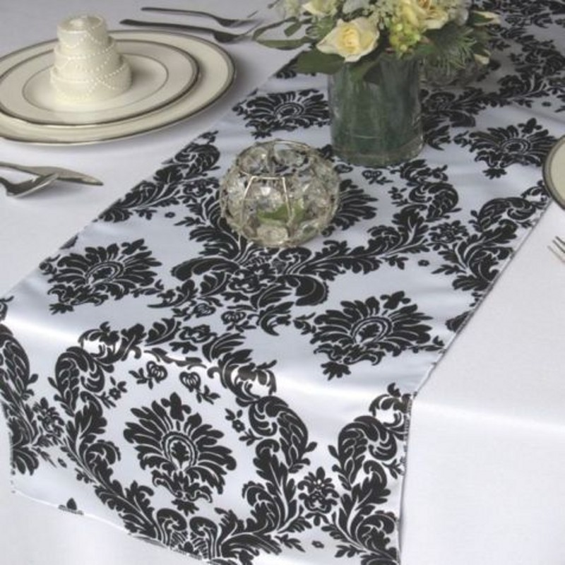 10pcs Pack Black And White Damask Table Runner Flocking Flocked Table Runner Wedding Hotel Party Banquet