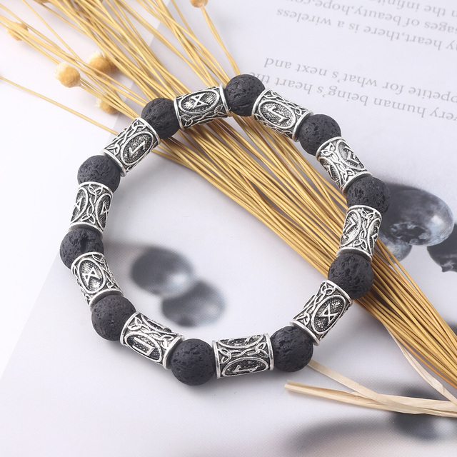 Bijoux rongji rétro perles de pierre de lave Viking rune Bracelets amulette thor Cosplay bijoux 4