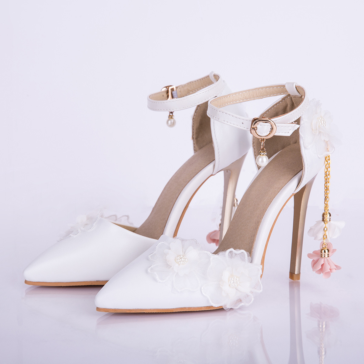 Pumps Wedding-Shoes Thin-Heels Pointed-Toe Party Elegant Female Bride-Buckle-Strap