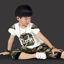 2016 new fashion summer boy's clothing set boy's t shirt set camouflage knitted T shirts and pants children's tops and trousers