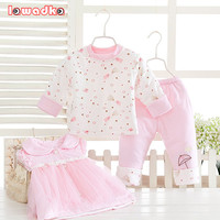 3pcs Set Winter Baby Sets Cotton Princess Style Baby Girls Clothes Lace Clothing Soft Warm Clothes