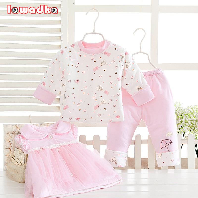 3pcs set ! Winter Baby Sets Cotton Princess Style Baby Girls Clothes Lace clothing Soft Warm Clothes 3pcs set winter baby sets cotton princess style baby girls clothes lace clothing soft warm clothes