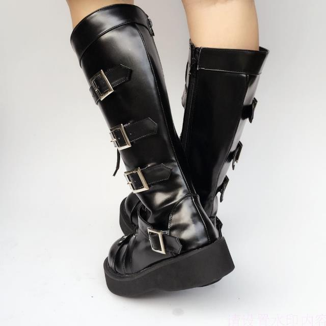 Japanese-Harajuku-High-Platform-Cosplay-Lolita-Mid-Calf-Boots-Women-Black-PU-Leather-Buckle-Straps-Lace-Up-Gothic-Punk-High-Boots-1