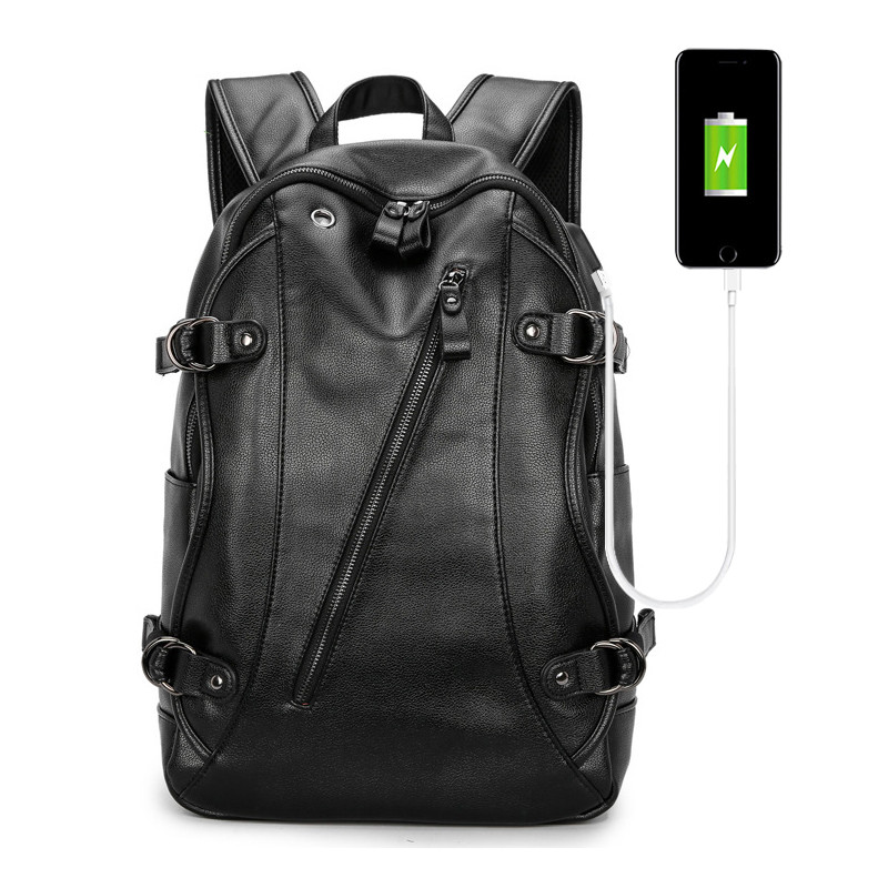 2019 Waterproof PU Laptop Bag Man USB Design Backpack Bag Bags Black Backpack men School Bags Male Mochila Computer Backpacks цена