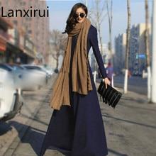 Long Trench Coat Women Plus Size 3XL European Style Wool Cas
