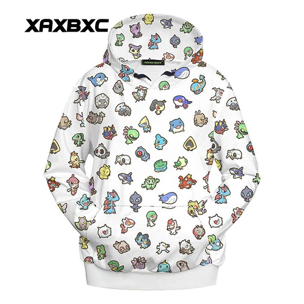 New 1046 Harajuku Girl Autumn Coat Cute Emoji Q version Pikachu Printed Hooded Sweatshirt Fitness Outside Women Hoodies