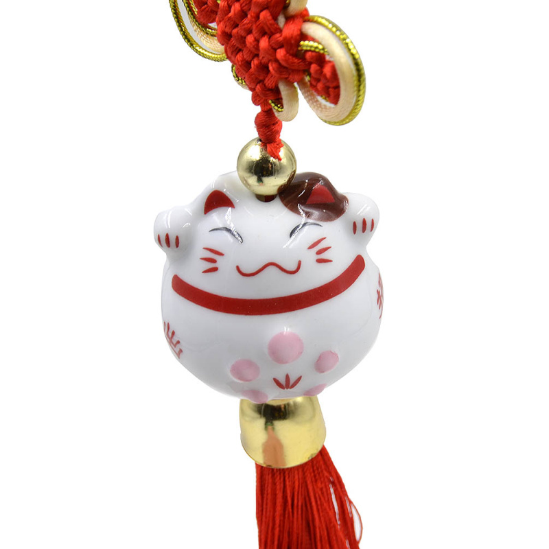 Lychee 1 piece New Arrival Chinese Style Lucky Ceramic Fortune Cat Key Chain Hanging Key Ring Pendant ...