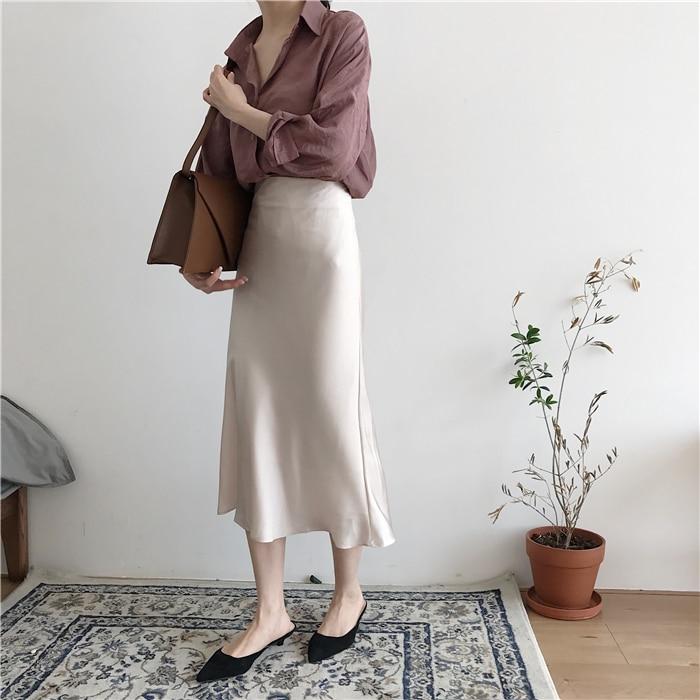 summer elegant high waist women long skirt solid A-line faldas mujer female solid slim jupe femme saia longa 10