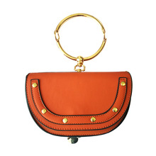 Luxury Handbags Women Bags Designer Half Moon Crossbody bag for Lady Mini PU Leather Shiny Metal Handle Loop Flip Cover