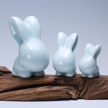 Household act the role ofing is tasted green glaze ceramic long-eared rabbit furnishing articles creative animal decoration цена