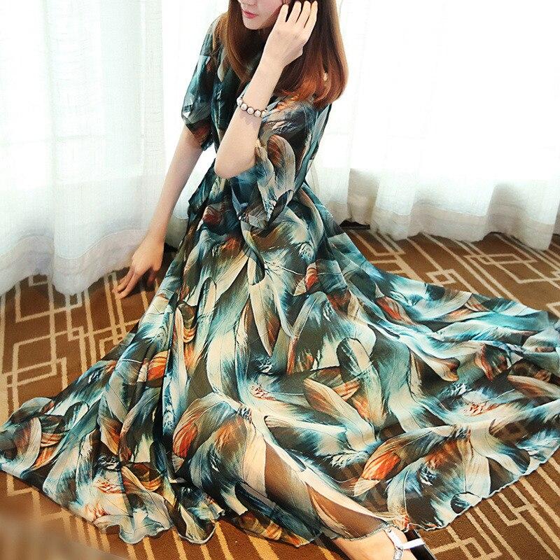 À Ultra Longue Soie De Vintage Plage En Printemps Élégant Taille 2017 Peacock Mousseline D'impression Dress Courtes Lâche Manches Plume Blue Bohème Mode 50wOEqc