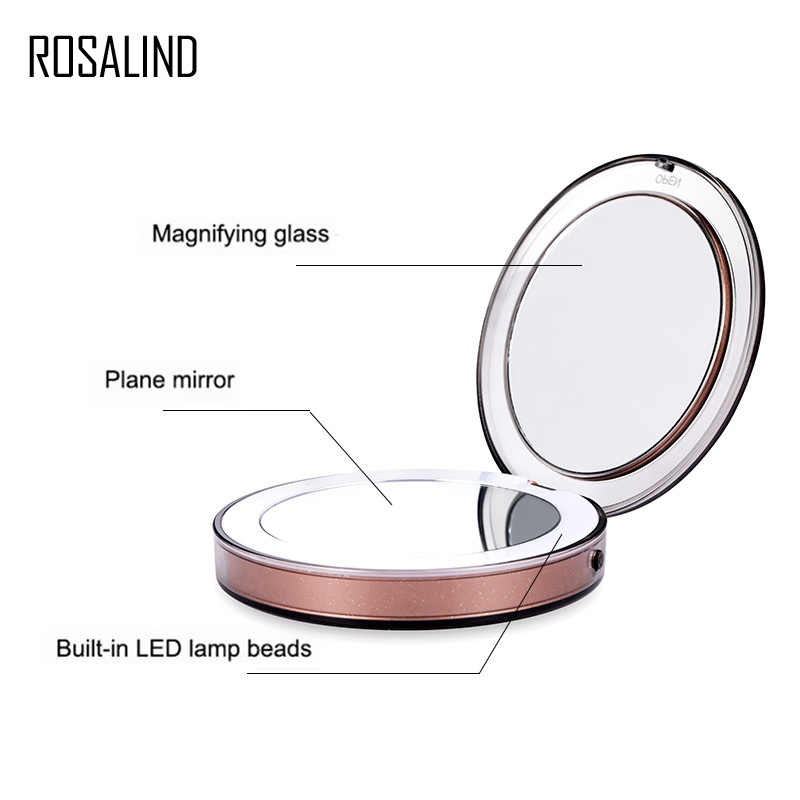روزاليند مرآة المكياج ضوء الغرور المكبرة جيب المدمجة شبيجل مرآة مكياج مضيئة مع LED شاحن يو اس بي مرآة صغيرة