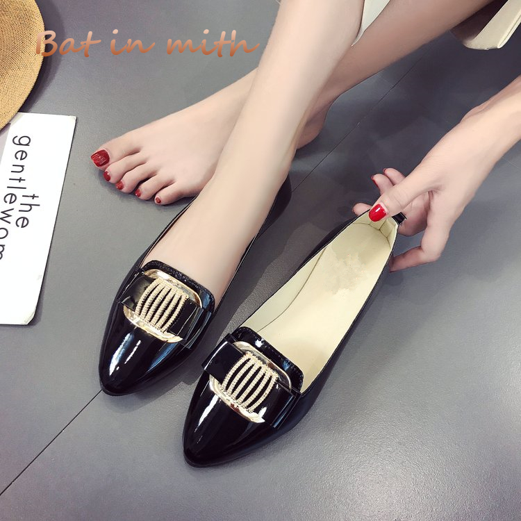 plus size 40 hot 2018 spring  summer casual women shoes flat PU portable Pointed crystal fashion dancing shoes women Mujer S066 new 2017 spring summer women shoes pointed toe high quality brand fashion womens flats ladies plus size 41 sweet flock t179