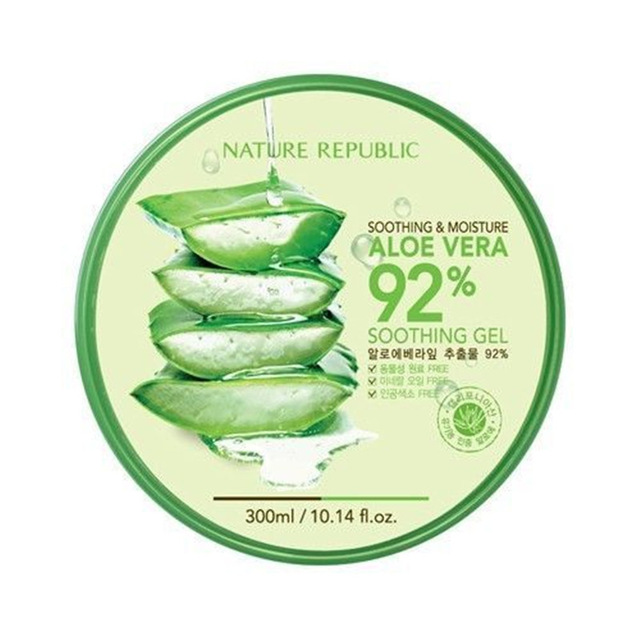NATURE REPUBLIC Soothing Moisture ALOE VERA 92% Soothing Gel 300ML Korea Cosmetics Acne Treatment Face Cream For Hydrating Moist
