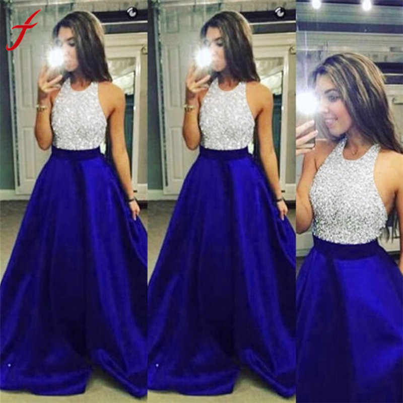 966cccce3f Feitong 2018 Hot Sale Casual Dress Ladies Fashion Formal Prom Party Ball  Gown Bridesmaid Halter Long Dress Shop Owner Recommend