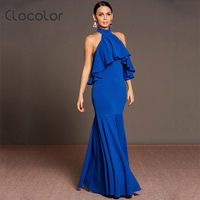 Clocolor Women Maxi Dress Royal Blue Party Dress Sexy Backless Falbala Summer Trumpet Mermiad Ankle Length