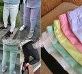[Bosudhsou] dka-16 Calças Lápis Menina Crianças Vestuário de Moda Casual Crianças Cotton Blended Calça Cor de Doces Verão Capris Fino le