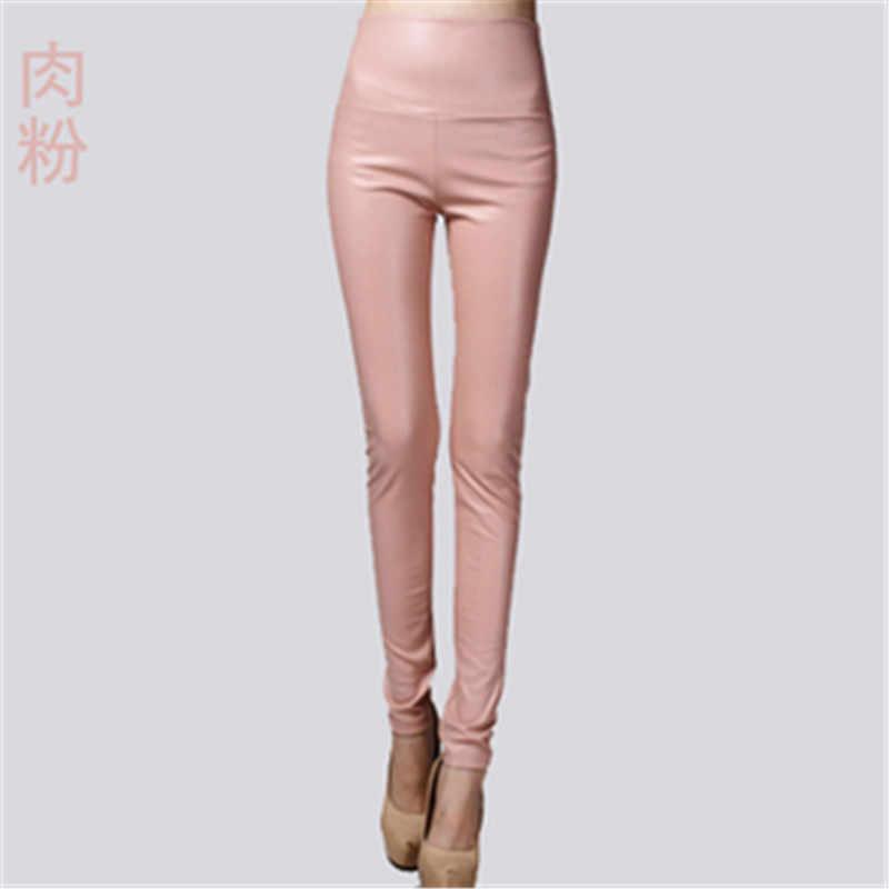 2018 delle signore delle donne di inverno caldo In Pelle a vita alta Pantaloni di stirata femminile elastico stretch Slim matita skinny pantaloni in pile PZ476