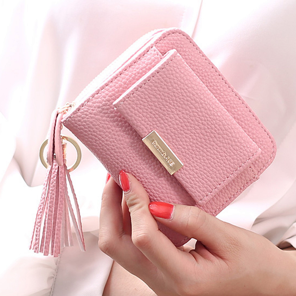Aelicy Women Small Wallets Tassel Pendant Female Short Money Wallets PU Leather Ladies Zipper Coin Purse women girls pouch cute