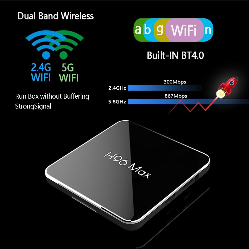 Android 8,1 4 GB 64 GB Amlogic S905X2 LPDDR4 Smart TV caja Dual Wifi H.265 1080 p 4 K USB3.0 h96 MAX X2 Control por voz de Google H96MAX - 4