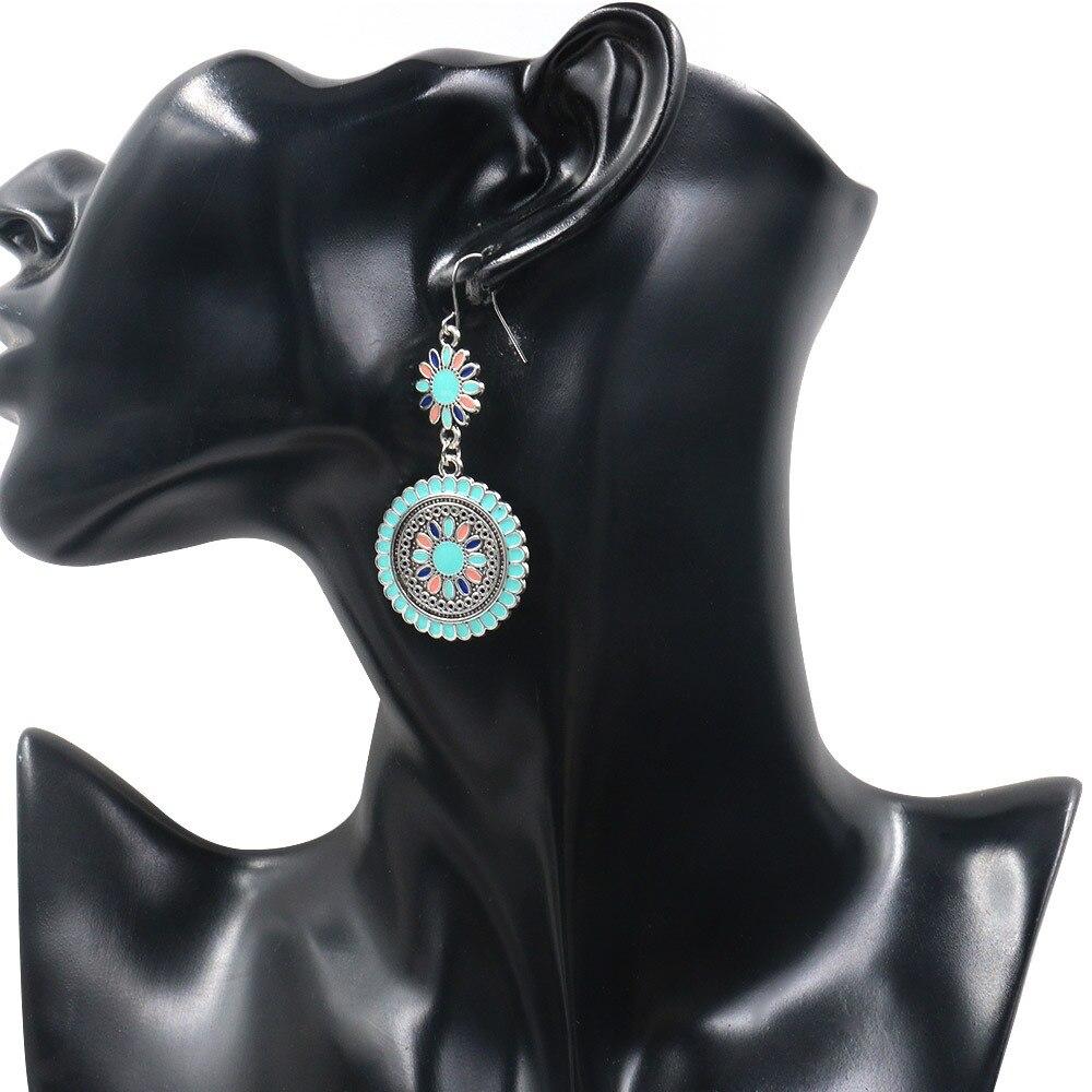 2019 Ethnic Flower Oil Drop Dangle Hanging Earrings For Women Vintage Cute Fashion Earrings Ear Jewelry Accessories mujer in Drop Earrings from Jewelry Accessories