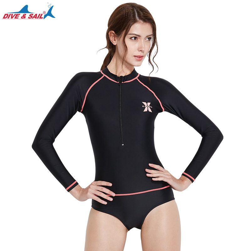 DIVE&SAIL Women's Sexy One Piece Swimsuits Fused Bodysuit for Girls UPF50+ Swimwear Professional Swim Bathing Suits Monokini J one piece swimsuits trikinis high cut thong swimsuit sexy strappy monokini swim suits high quality denim women s sports swimwear