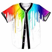 Rainbow Color 3D Print Pigment Baseball Jerseys New Hip Hop Streetwear US Sizes Buttons Homme Shirt Brand Clothing